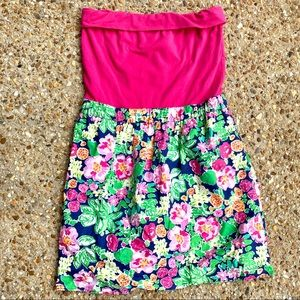Lilly Pulitzer Pink Strapless Floral Sun Dress S